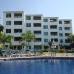 Building overlooking pool